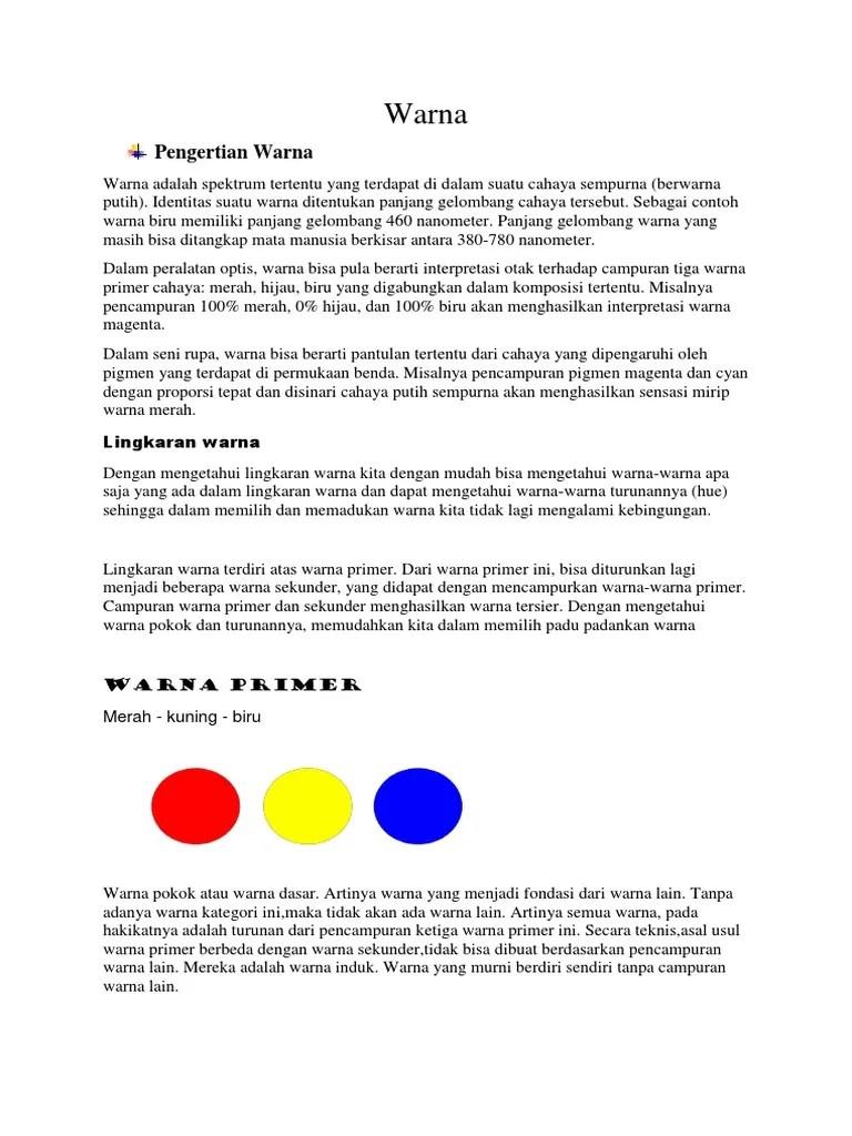 Pengertian Warna Primer Dan Sekunder : pengertian, warna, primer, sekunder, Warna