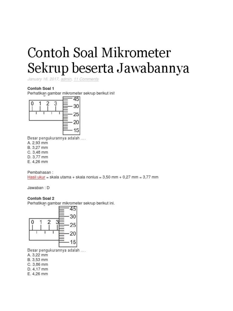 Contoh Soal Mikrometer Sekrup : contoh, mikrometer, sekrup, Contoh, Mikrometer, Sekrup, Beserta, Jawabannya