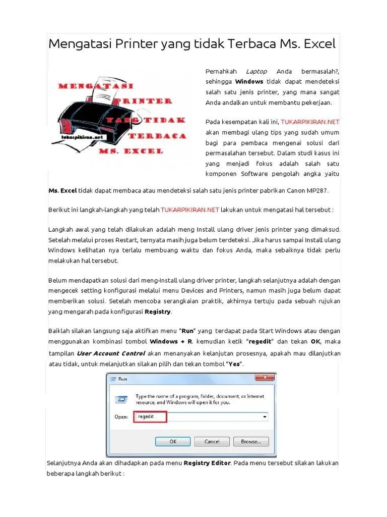 Printer Tidak Terdeteksi Di Word : printer, tidak, terdeteksi, Mengatasi, Printer, Tidak, Terbaca, Excel