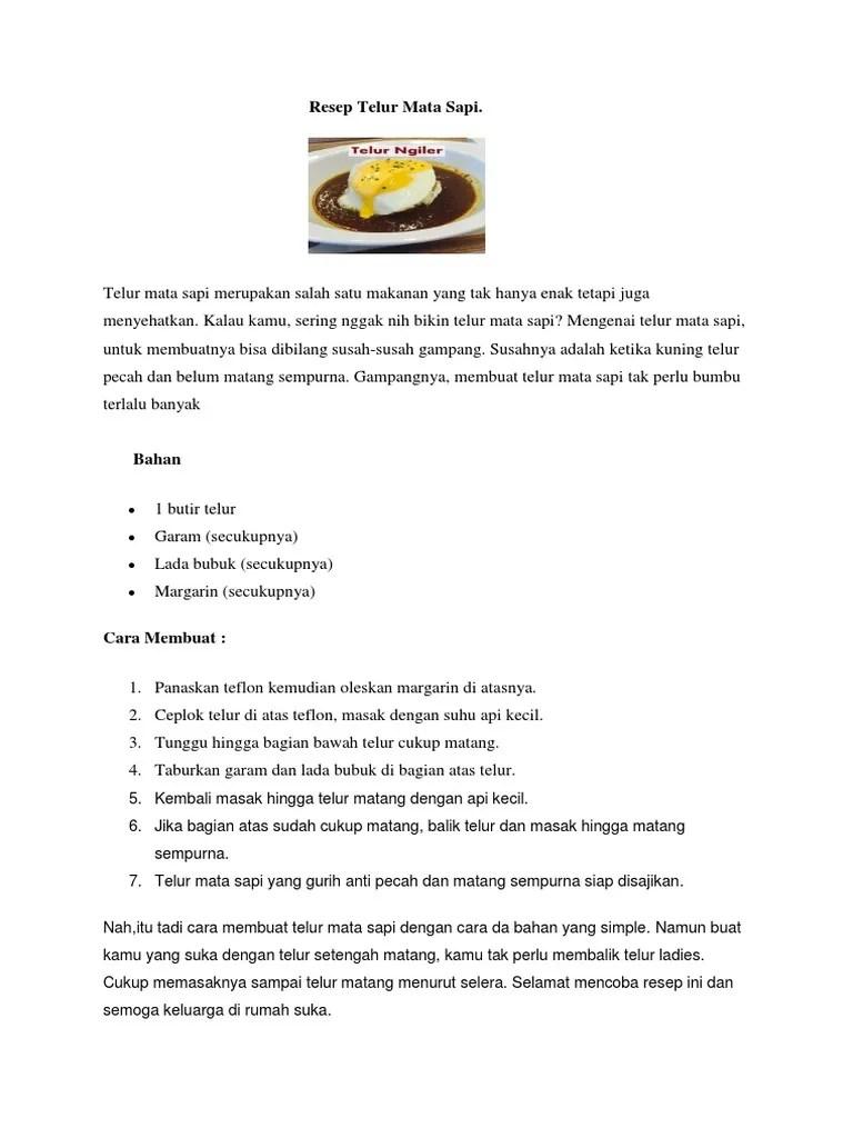 Cara Membuat Telur Mata Sapi : membuat, telur, Resep, Telur