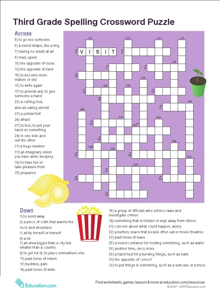 3rd Grade Vocabulary Crossword [ 1024 x 768 Pixel ]