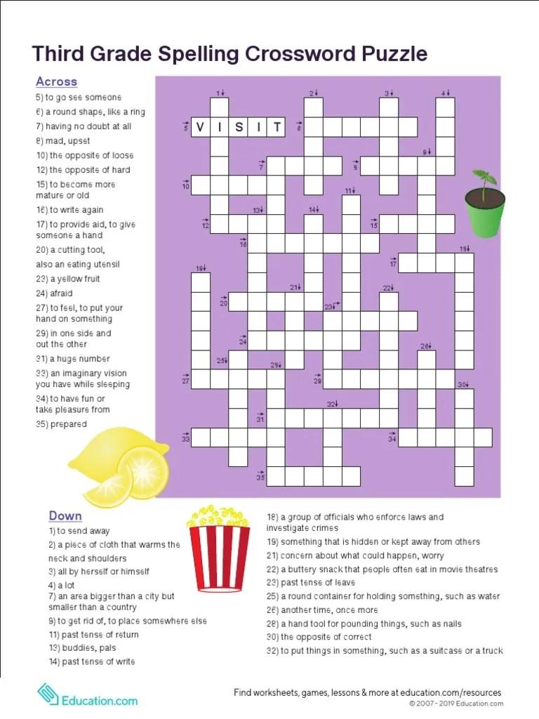 small resolution of 3rd Grade Vocabulary Crossword