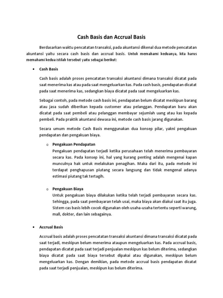 Contoh Transaksi Cash Basis Dan Accrual Basis : contoh, transaksi, basis, accrual, Metode, Pencatatan, Keuangan, Basis, Accrual