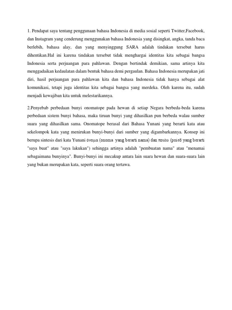 Penyebab Perbedaan Bunyi Onomatope : penyebab, perbedaan, bunyi, onomatope, Tugas, (B.indonesia)