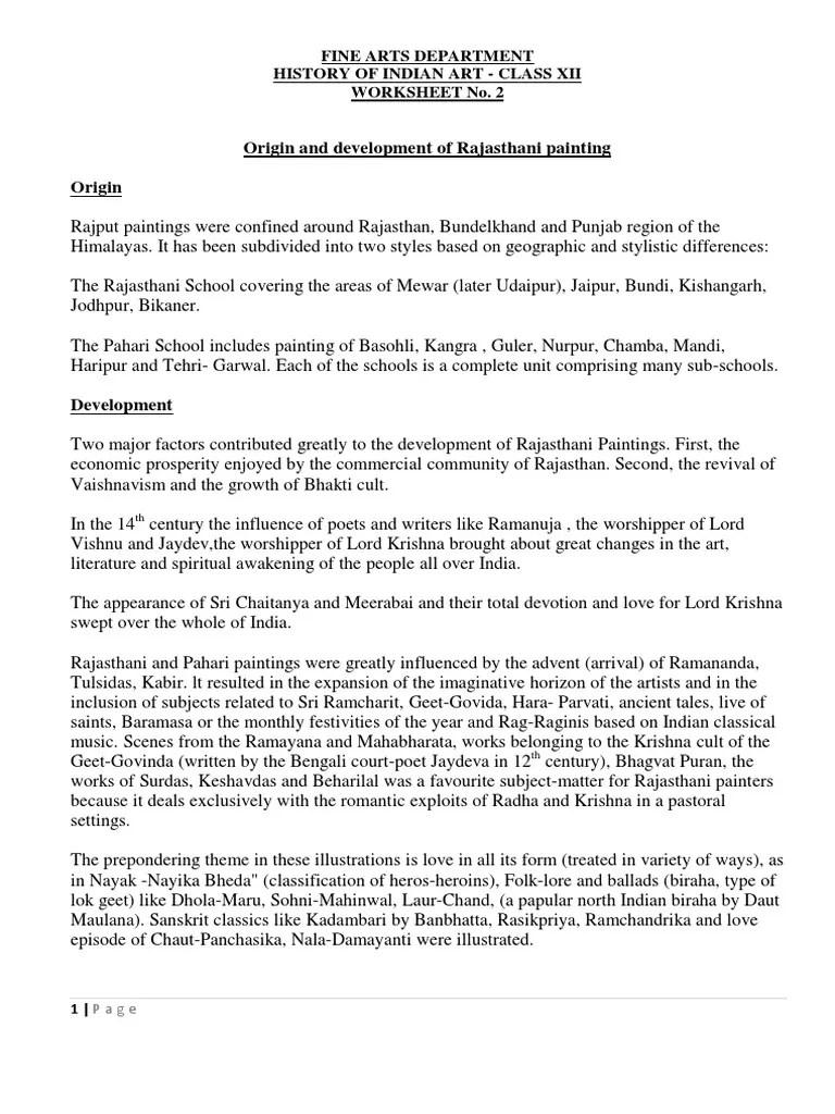 medium resolution of Class Xii Fine Arts Rajasthani Miniature Painting Worksheet 2   Paintings    Sikhism