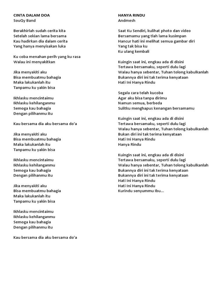 Lirik Cinta Dalam Doa : lirik, cinta, dalam, Lirik, Cinta, Dalam