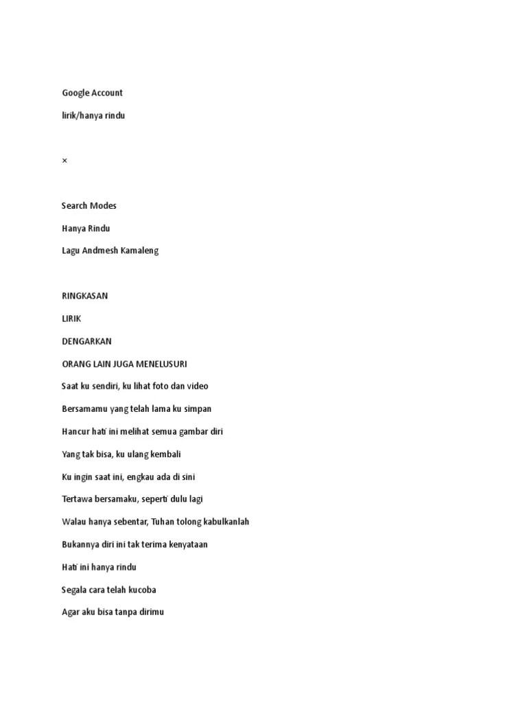 Lirik Hanya Rindu : lirik, hanya, rindu, Hanya, Rindu, (Lirik)