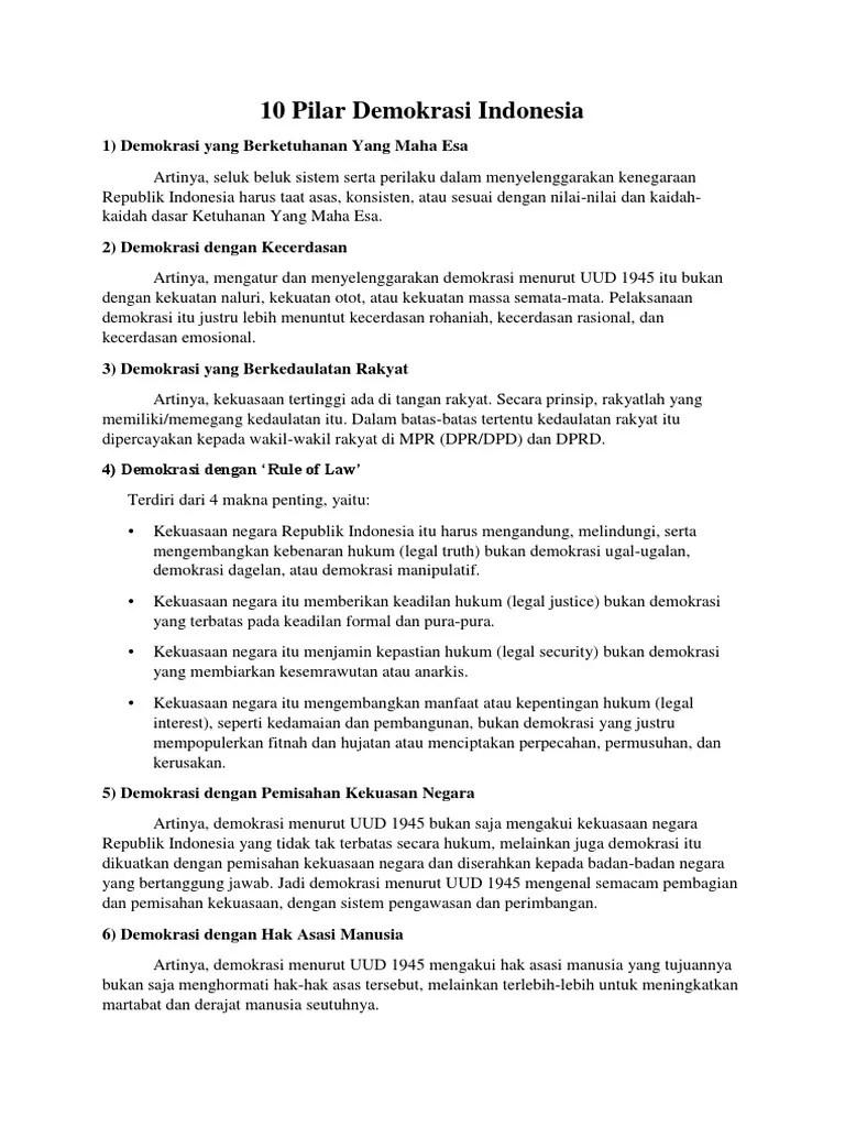 10 Pilar Demokrasi : pilar, demokrasi, Pilar, Demokrasi, Indonesia:, Berketuhanan