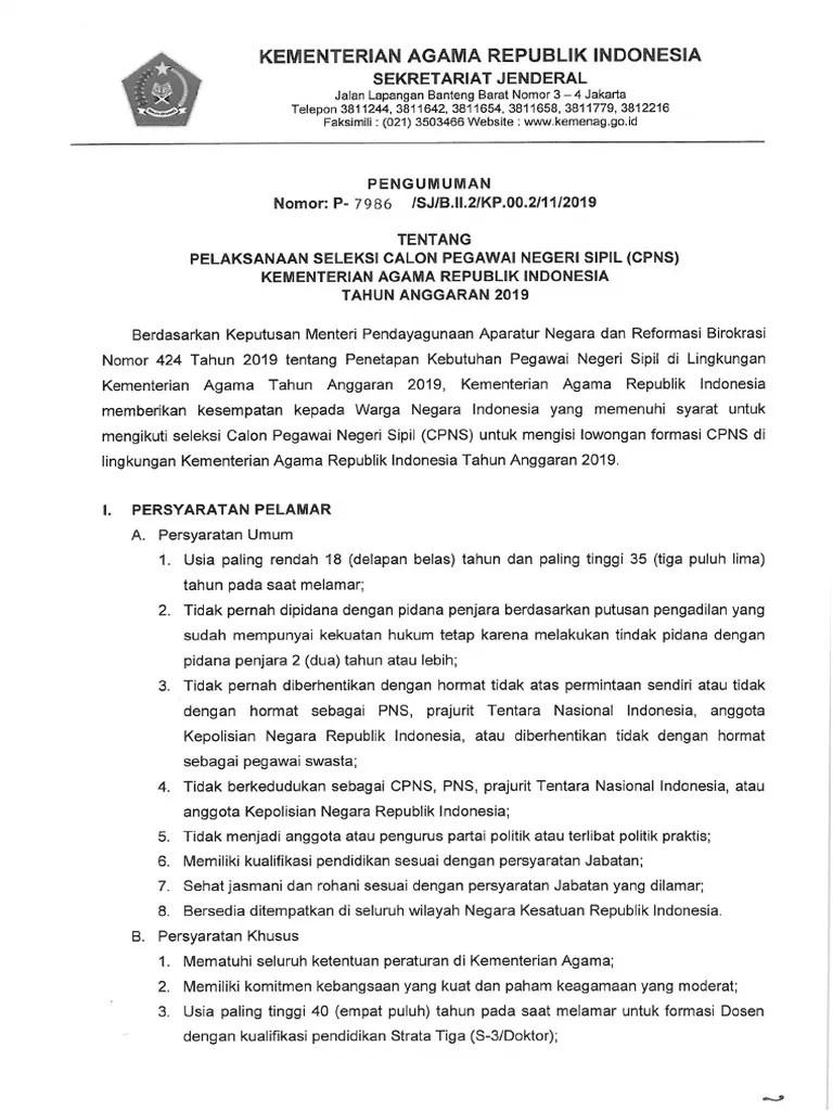 Hasil SKD CPNS Kementerian Agama Formasi Tahun 2019/2020