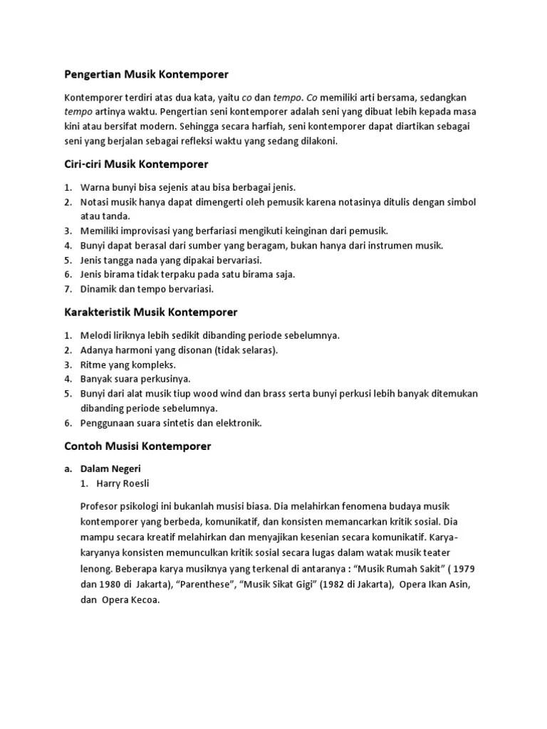 Pengertian Teater Kontemporer : pengertian, teater, kontemporer, Makalah, Musik, Kontemporer