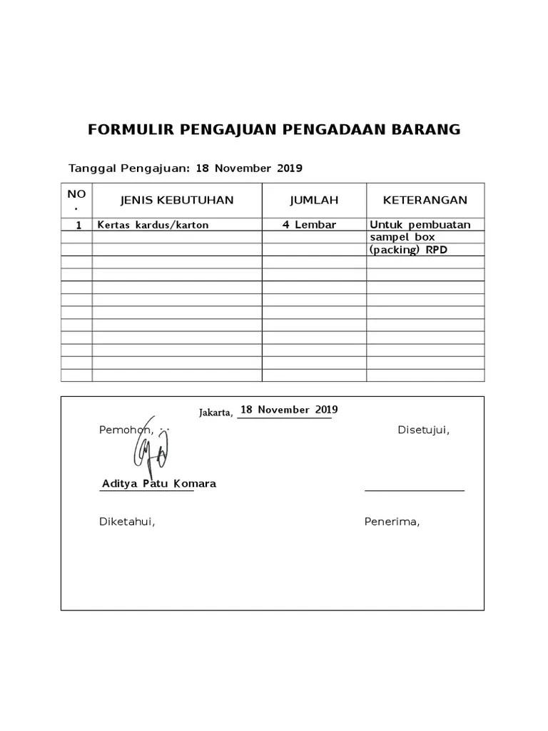 Contoh Form Pengajuan Barang : contoh, pengajuan, barang, Contoh, Formulir, Sederhana, Pengajuan, Pengadaan, Barang