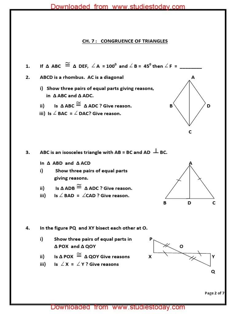 CBSE Class 7 Maths Worksheet - Congruence of Triangles (5).pdf   Euclid    Space [ 1024 x 768 Pixel ]