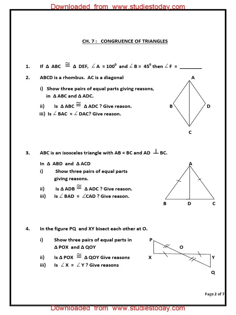 medium resolution of CBSE Class 7 Maths Worksheet - Congruence of Triangles (5).pdf   Euclid    Space