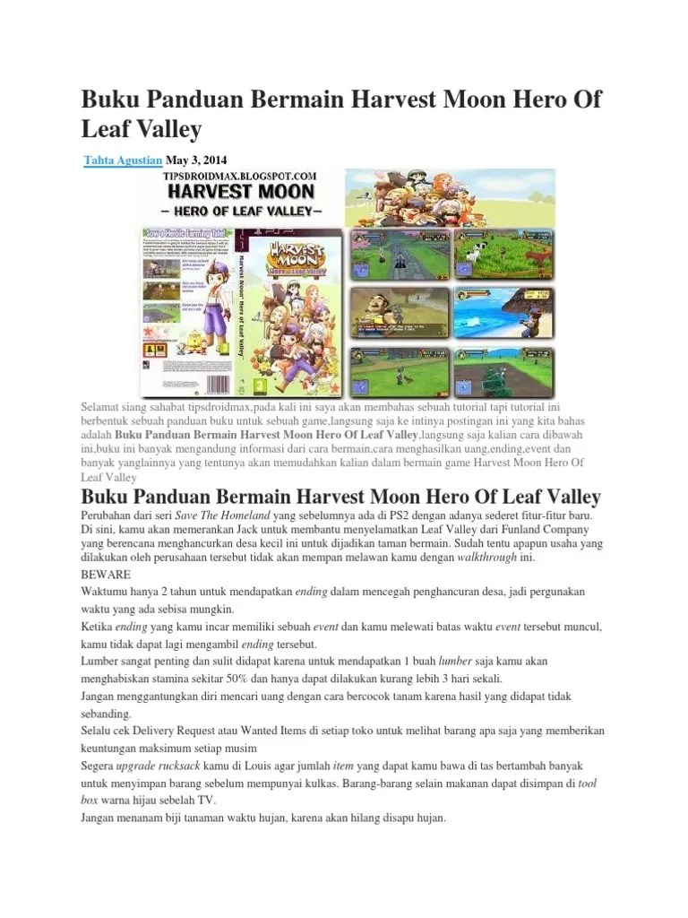 Harvest Moon: Hero of Leaf Valley Save Game Files for PSP