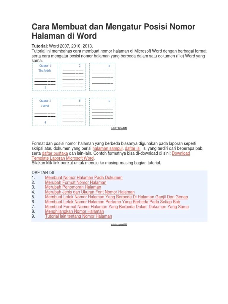 Cara Membuat Halaman Beda Posisi : membuat, halaman, posisi, Membuat, Mengatur, Posisi, Nomor, Halaman