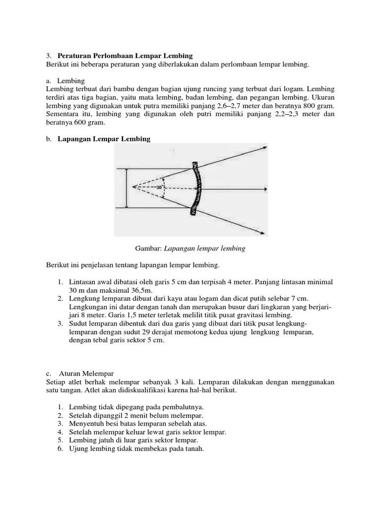 Lempar lembing : Sejarah, Teknik, Peraturan, Ukuran Lapangan