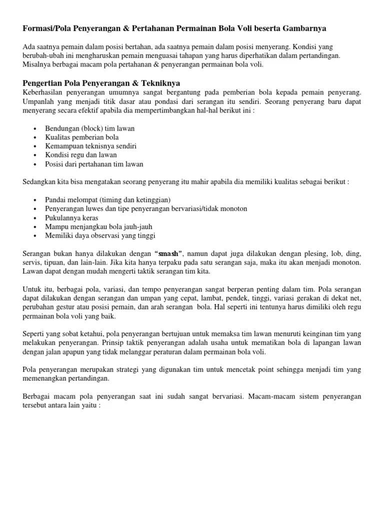 Pengertian Pola Penyerangan : pengertian, penyerangan, Penyerangan, Pertahanan, Voli.pdf