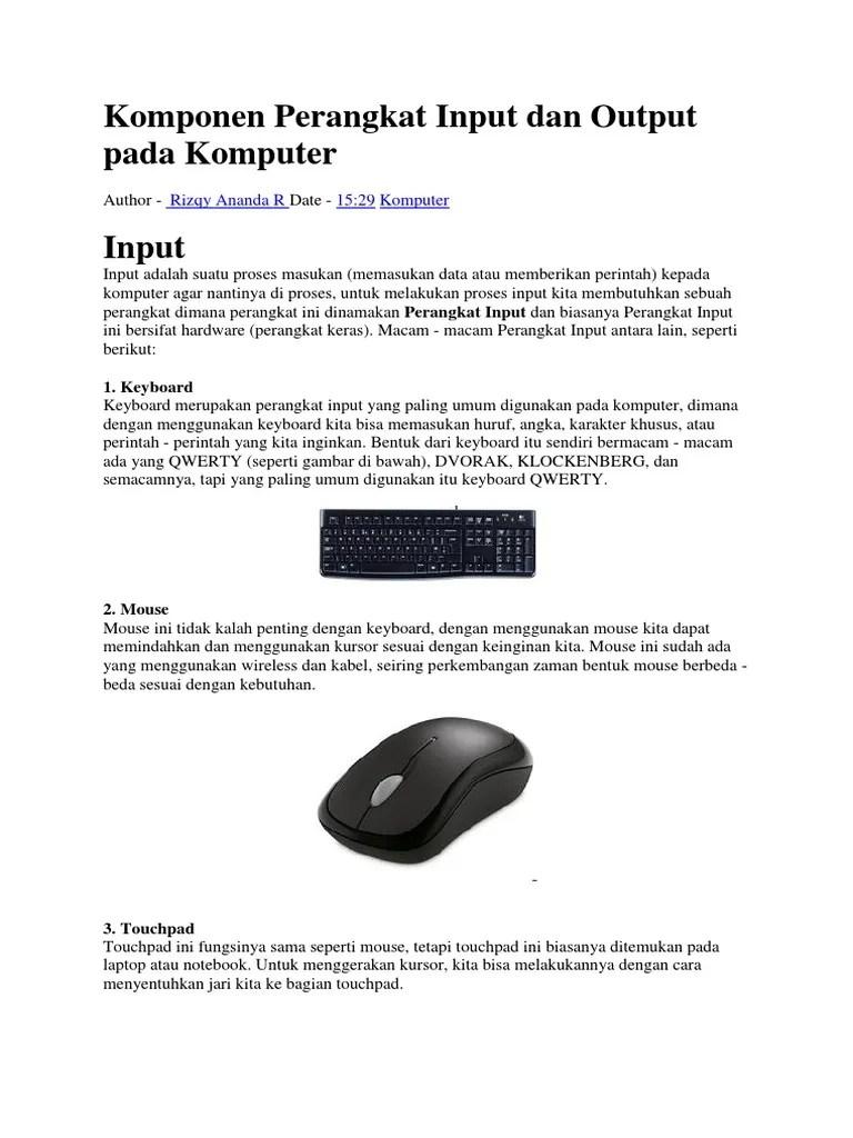 Perangkat Input Komputer Adalah : perangkat, input, komputer, adalah, Komponen, Perangkat, Input, Output, Komputer