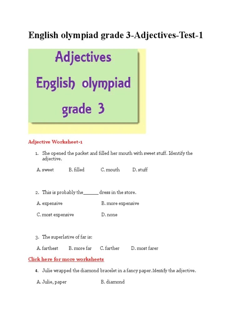 small resolution of Adjectives Grade 3   Adjective   Grammar