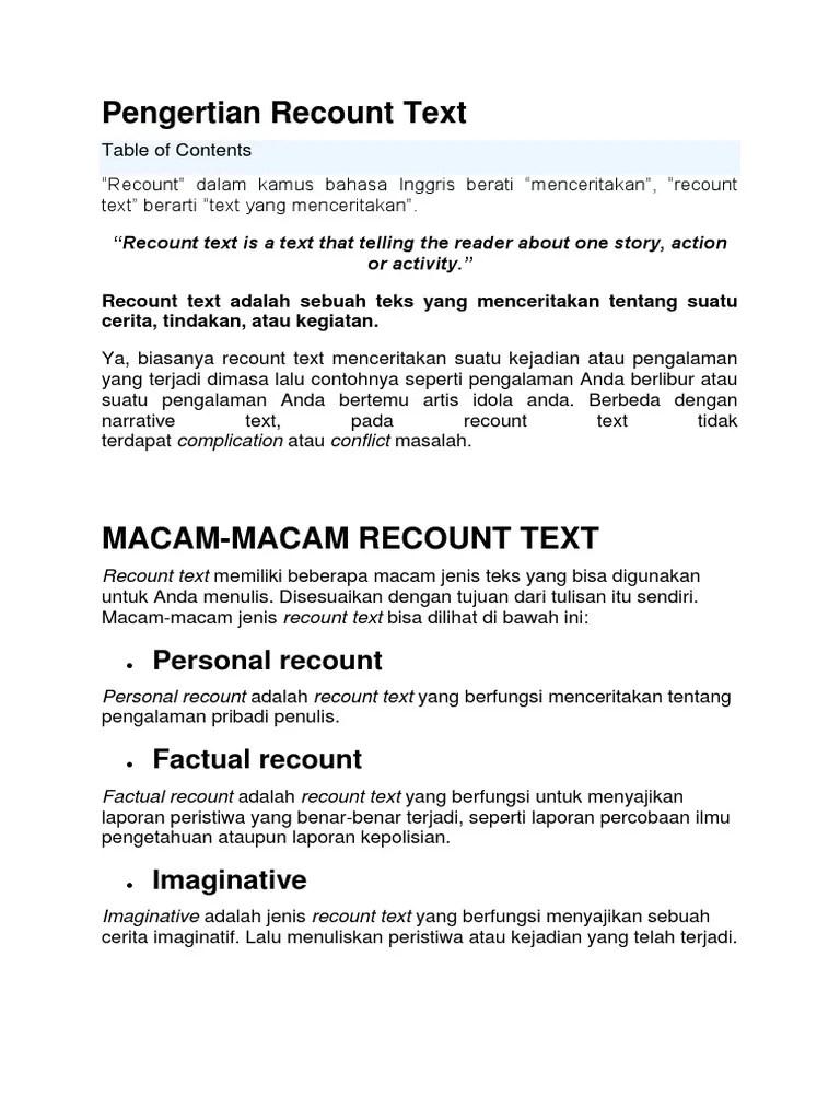 Pengertian Recount : pengertian, recount, Pengertian, Recount, Text.docx