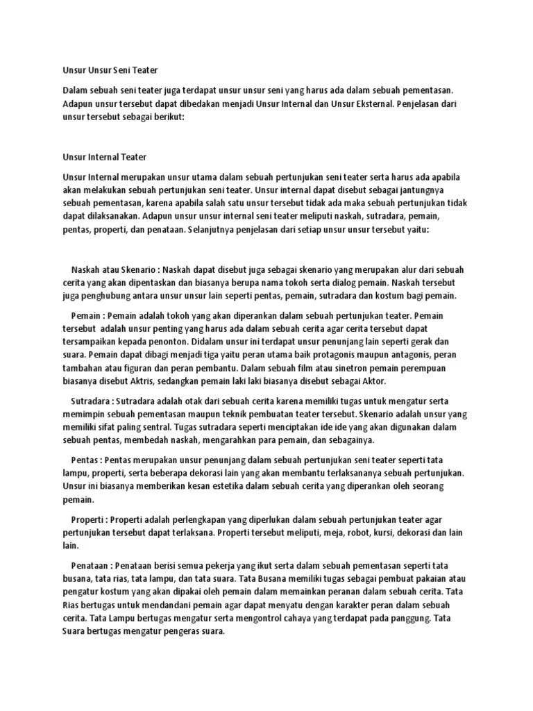 Seni Teater - Pengertian, Unsur, Fungsi dan Contoh (Lengkap)