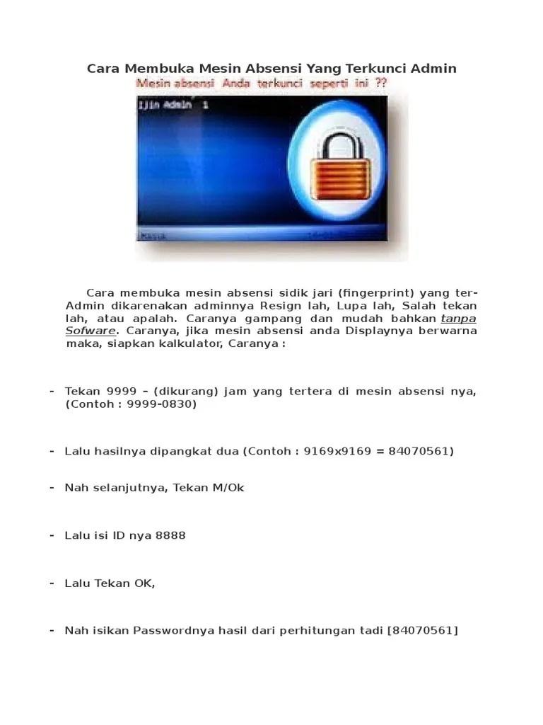 Cara Membuka Pdf Terkunci : membuka, terkunci, 304844737-Cara-Membuka-Mesin-Absensi-Yang-Terkunci-Admin.pdf