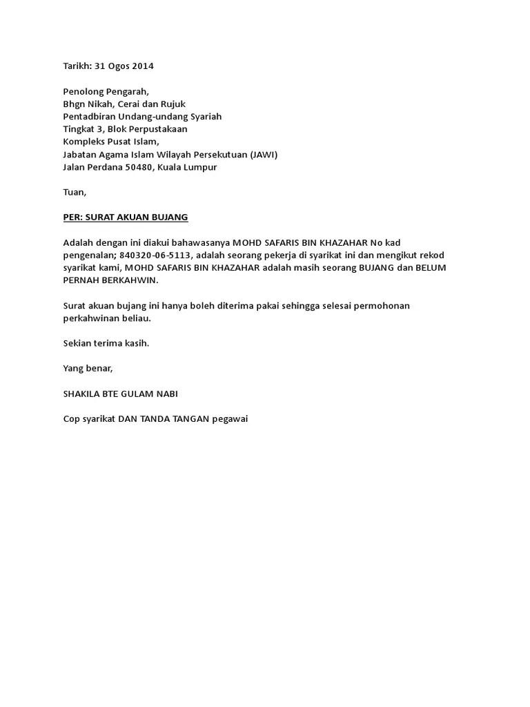 Surat Akuan Bujang 2 Doc Document Resep Kuini