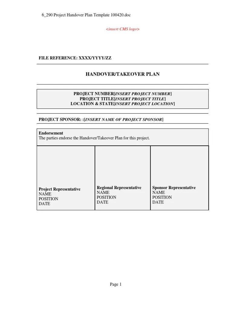 construction handover form