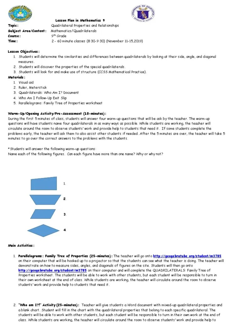 small resolution of Quadrilateral Lesson Plan (1).docx   Rectangle   Geometry
