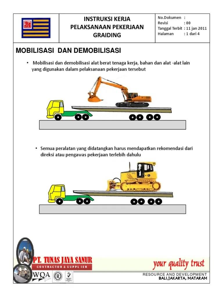 Mobilisasi Alat Berat : mobilisasi, berat, GRAIDING