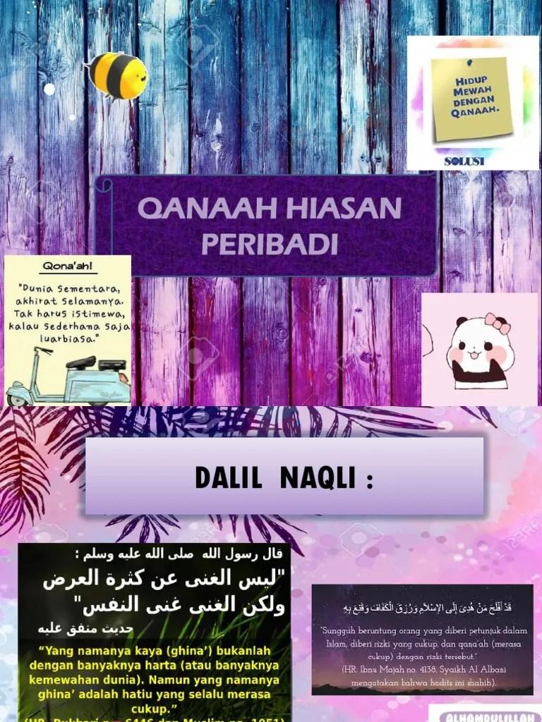 Hadits Qanaah : hadits, qanaah, Qanaah, Hiasan, Peribadi.pptx