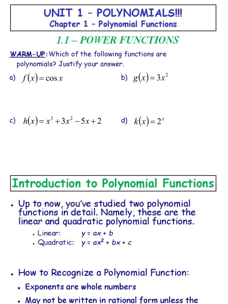 1.1 - Power Functions.ppt.pdf   Polynomial   Function (Mathematics) [ 1024 x 768 Pixel ]