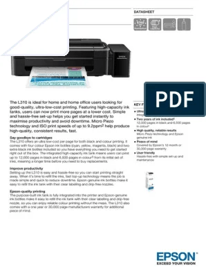Download Software Printer Epson L310 : download, software, printer, epson, Printer, L310-Datasheet.pdf, (Computing), Microsoft, Windows