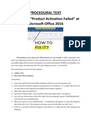 Cara Menghilangkan Tulisan Product Activation Failed Office