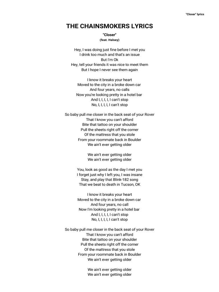 I Was Doing Just Fine Before I Met You Lyrics : doing, before, lyrics, CHAINSMOKERS, LYRICS, Closer