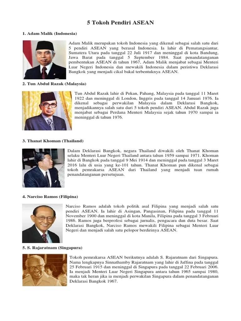 5 Tokoh dan Negara Pendiri ASEAN - Thebellebrigade.com