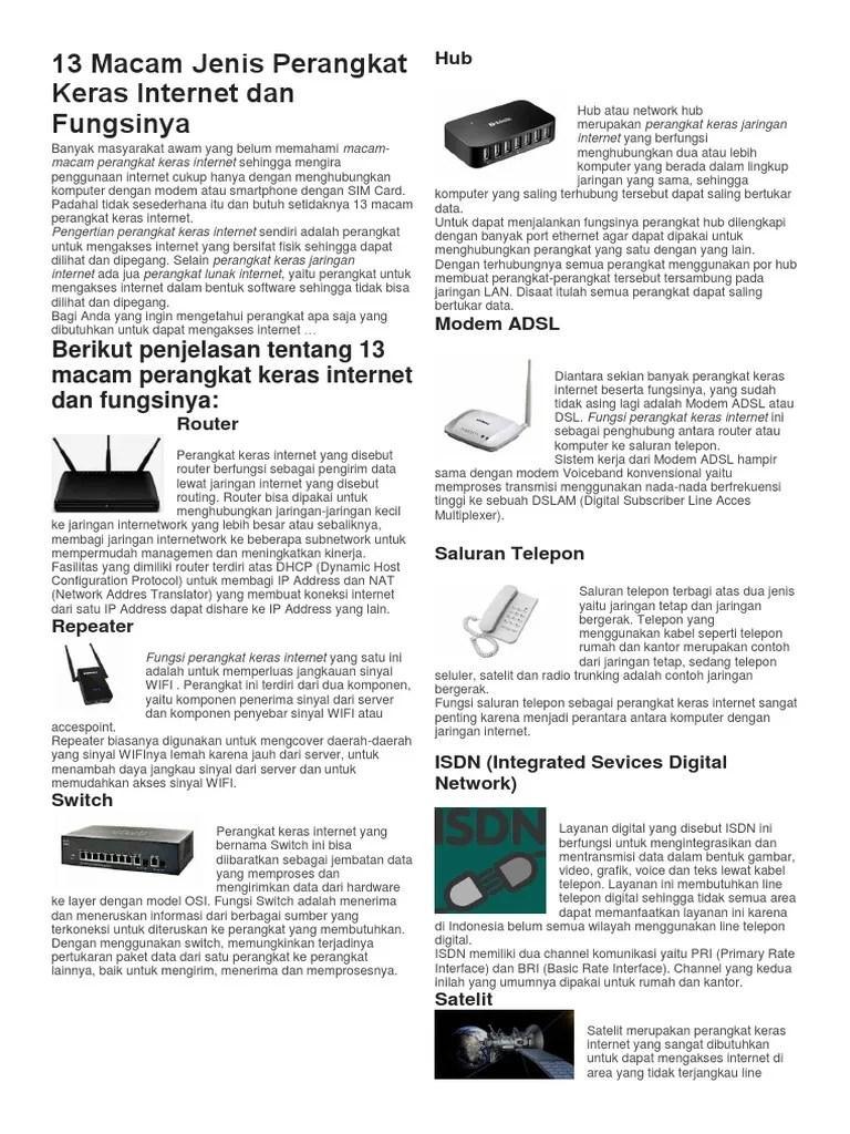 Perangkat Keras Internet Beserta Fungsinya : perangkat, keras, internet, beserta, fungsinya, Macam, Jenis, Perangkat, Keras, Internet, Fungsinya.docx