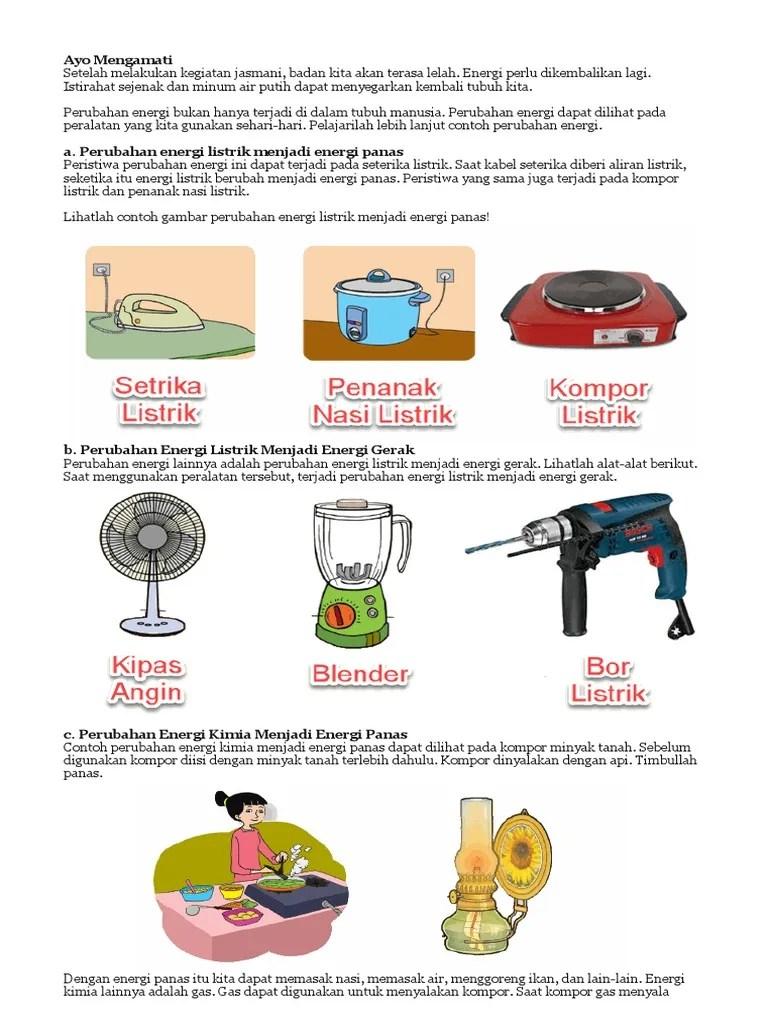 Contoh Perubahan Energi Listrik Menjadi Energi Panas : contoh, perubahan, energi, listrik, menjadi, panas, Mengamati