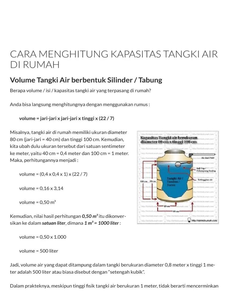 Menghitung Volume Air : menghitung, volume, Menghitung, Kapasitas, Tangki, Rumah, Listrik, Rumah.pdf