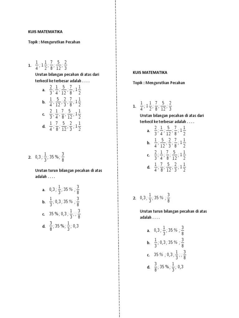 Urutan Bilangan Pecahan : urutan, bilangan, pecahan, MATEMATIKA