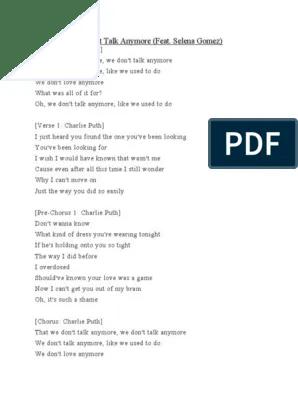 Lirik Lagu We Don't Talk Anymore - Charlie Puth Feat