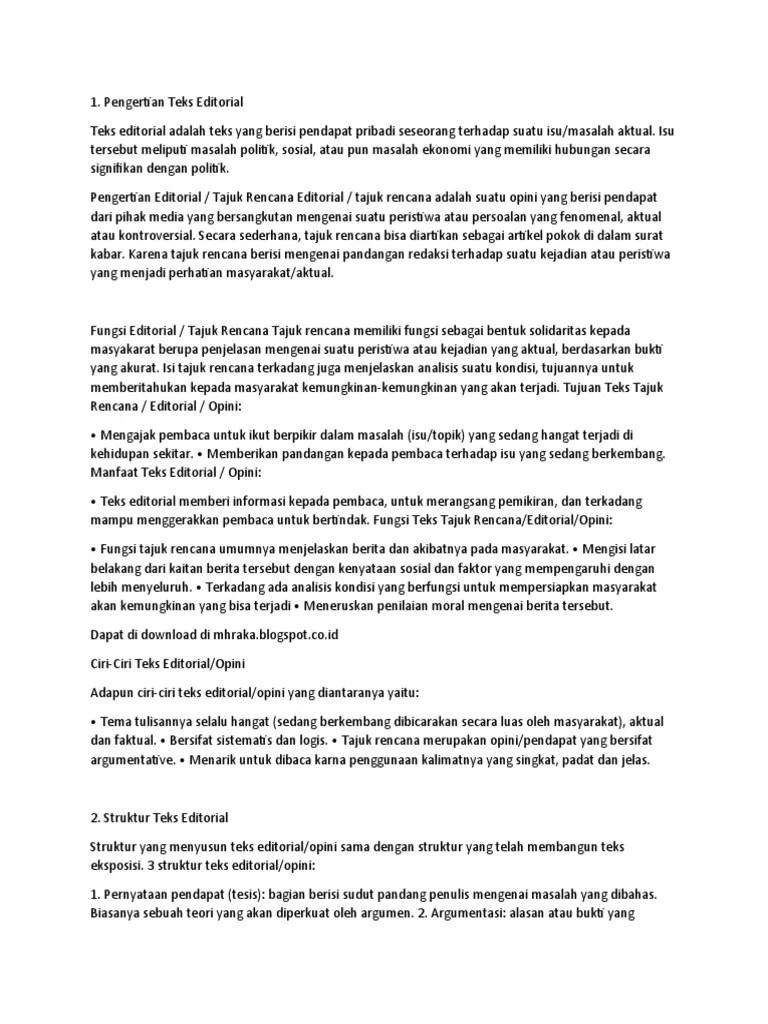 Teks Editorial Adalah : editorial, adalah, EDITORIAL.docx