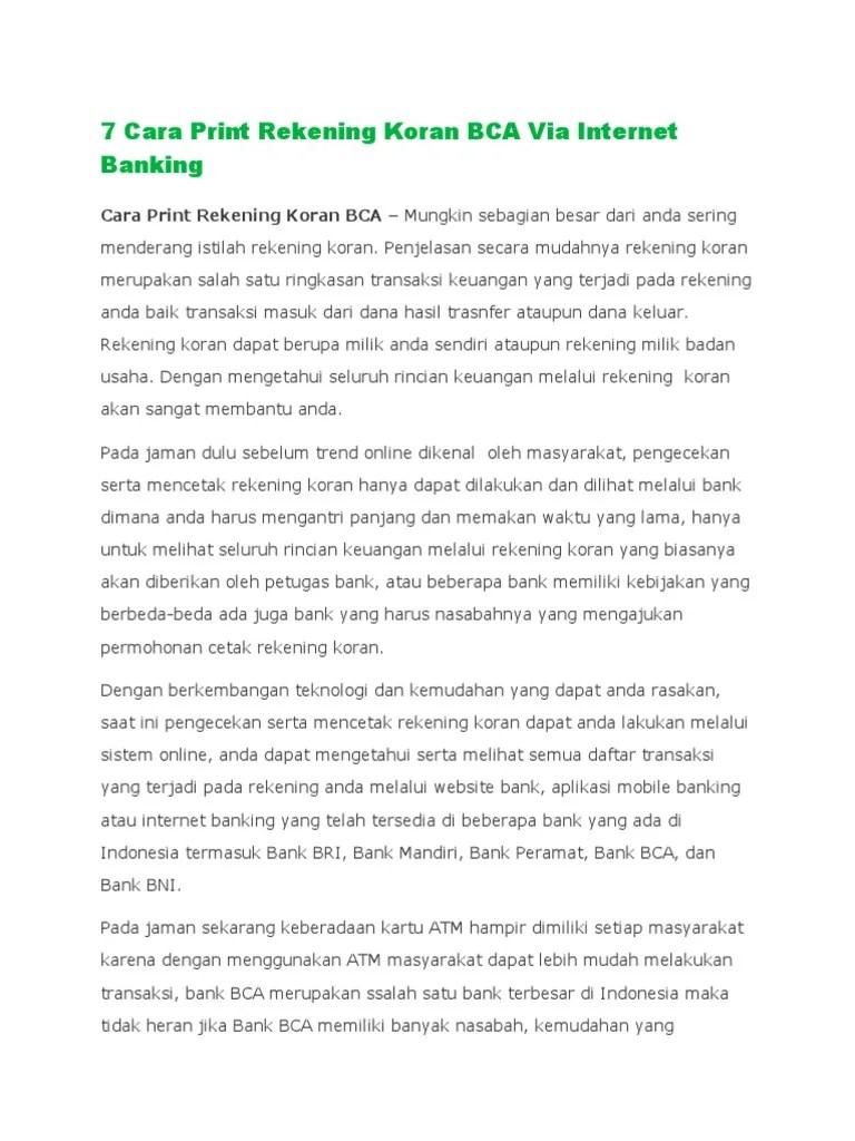 Cara Print Rekening Koran Bca : print, rekening, koran, Print, Rekening, Koran, Internet, Banking.pdf