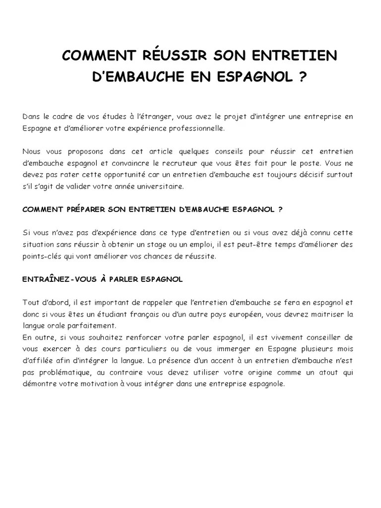 Entretien D Embauche En Espagnol : entretien, embauche, espagnol, Comment, Réussir, Entretien, D'Embauche, Espagnol, D'embauche, Motivation