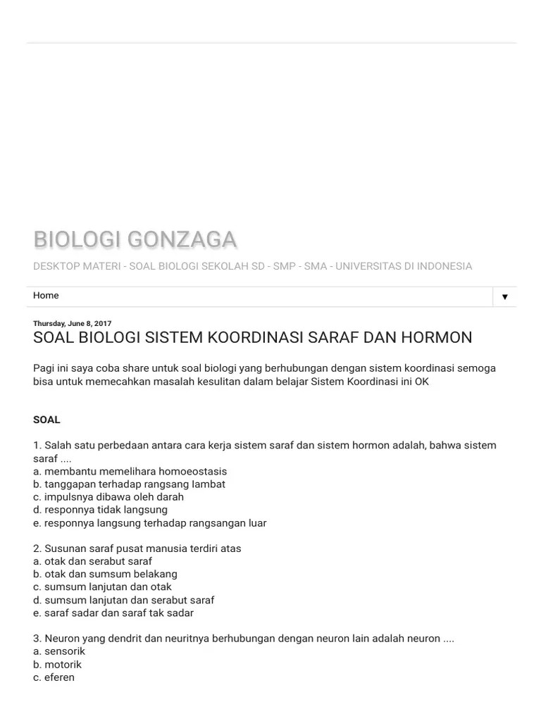 Soal Sistem Koordinasi, Kelas XI SMA - Info Pendidikan dan Biologi