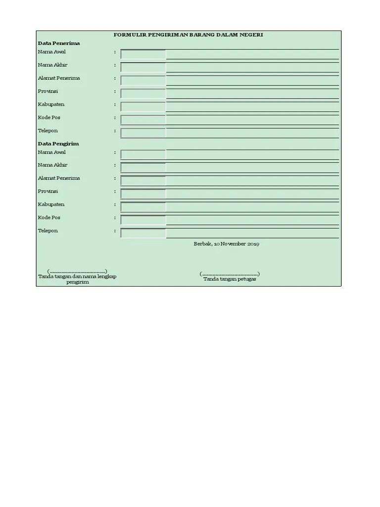 Formulir Pengiriman Barang : formulir, pengiriman, barang, FORMULIR, PENGIRIMAN, BARANG, DALAM, NEGERI