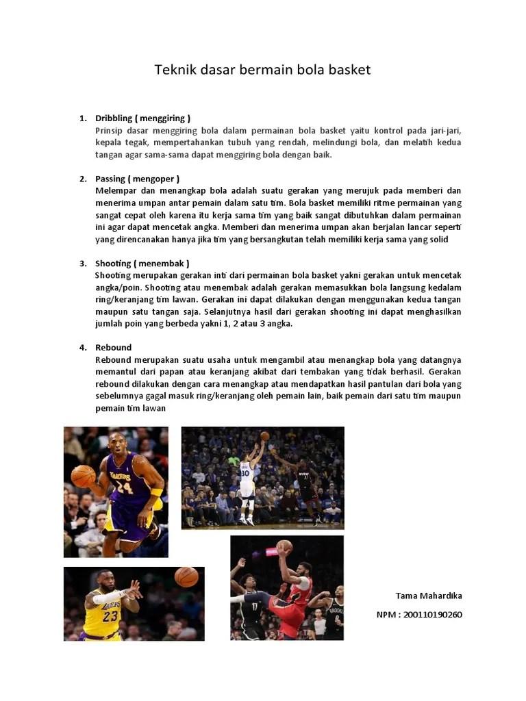 Teknik Menggiring Bola Rendah Pada Permainan Bola Basket Dilakukan Untuk : teknik, menggiring, rendah, permainan, basket, dilakukan, untuk, Teknik, Dasar, Bermain, Basket