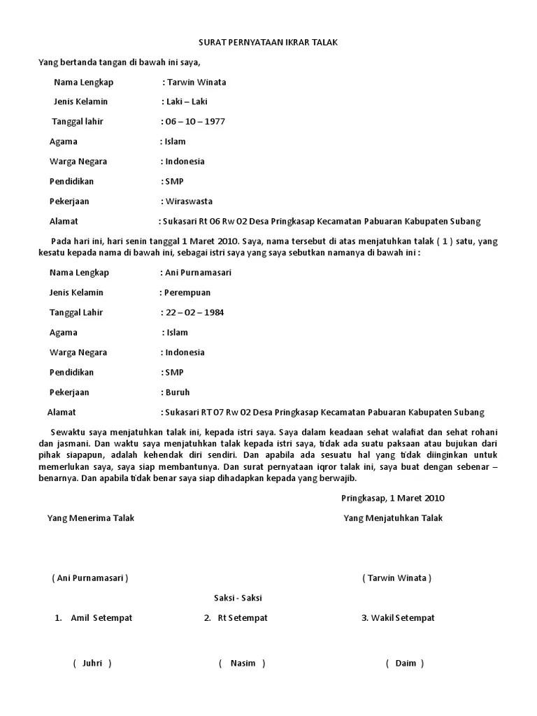 Contoh Surat Talak : contoh, surat, talak, Contoh, Surat, Pernyataan, Ikrar, Talak