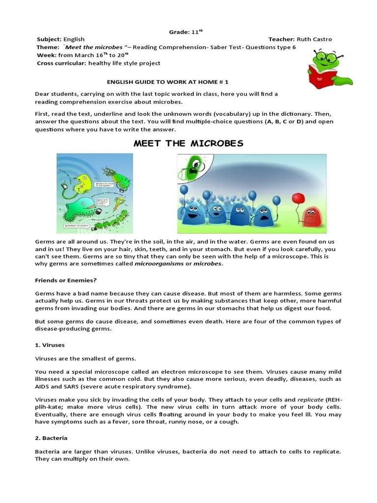 small resolution of Grade 11th. Worksheet 1   Pathogen   Microorganism