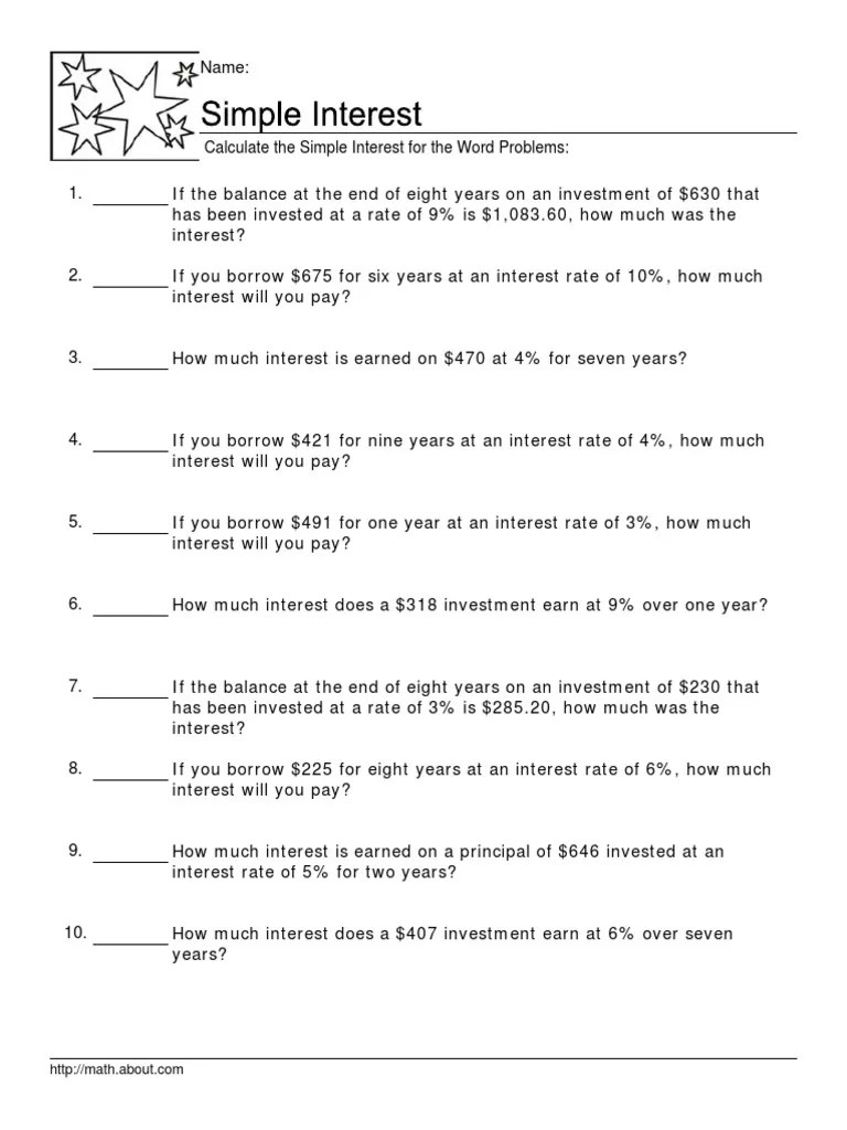 small resolution of Calculate the Simple Interest for the Word Problems   Interest   Interest  Rates